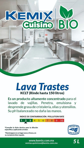 lavatrastes industrial liquido concentrado biodegradable 5l