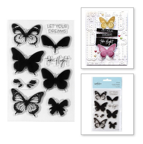 layered butterflies clear stamps by spellbinders