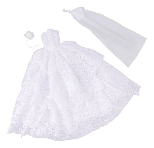 Layered Lace Gown For Doll Clothes Bridal Party Dress W Vei