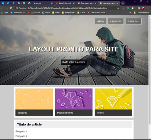 layout para o site do seu negócio!