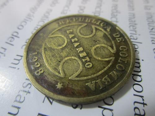 lazareto moneda antigua colombia 1928 50 centavos 30mm