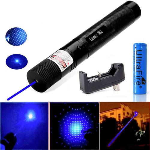 lazer lápiz beam+18650+charger azul