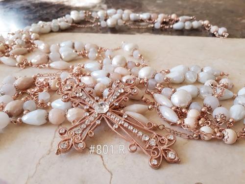 lazo boda rosa mística 3 oros cuarzo perla madre swarovski