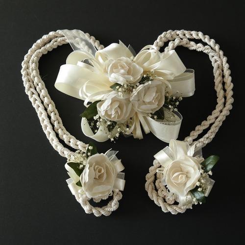 lazo de boda cordón trenzado flores gardenias