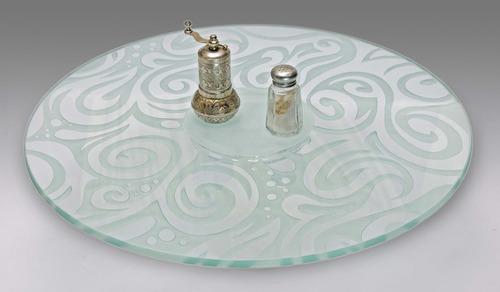lazy susan centro de mesa giratorio abstracto cristal 50cms.