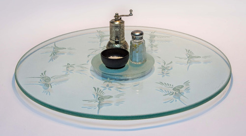 lazy susan centro de mesa giratorio colibríes cristal 40cms.