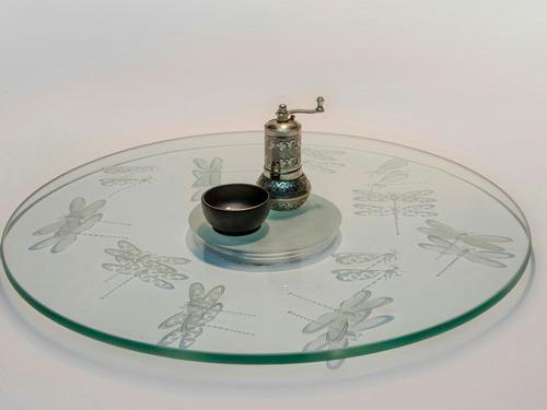 lazy susan centro de mesa  giratorio libélula 50 cmscristal