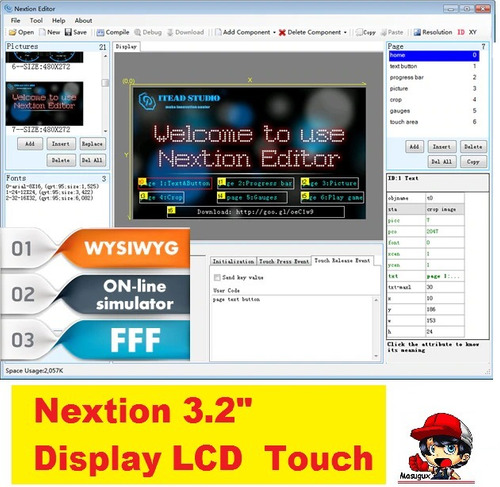 lcd 3.2 touchscreen nextion  _pra arduino esp32 nodemcu lora