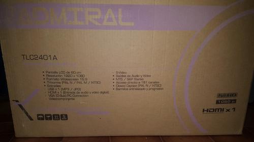lcd admiral 24 pulgadas, tv y monitor,full hd, hdmi,vga,usb!