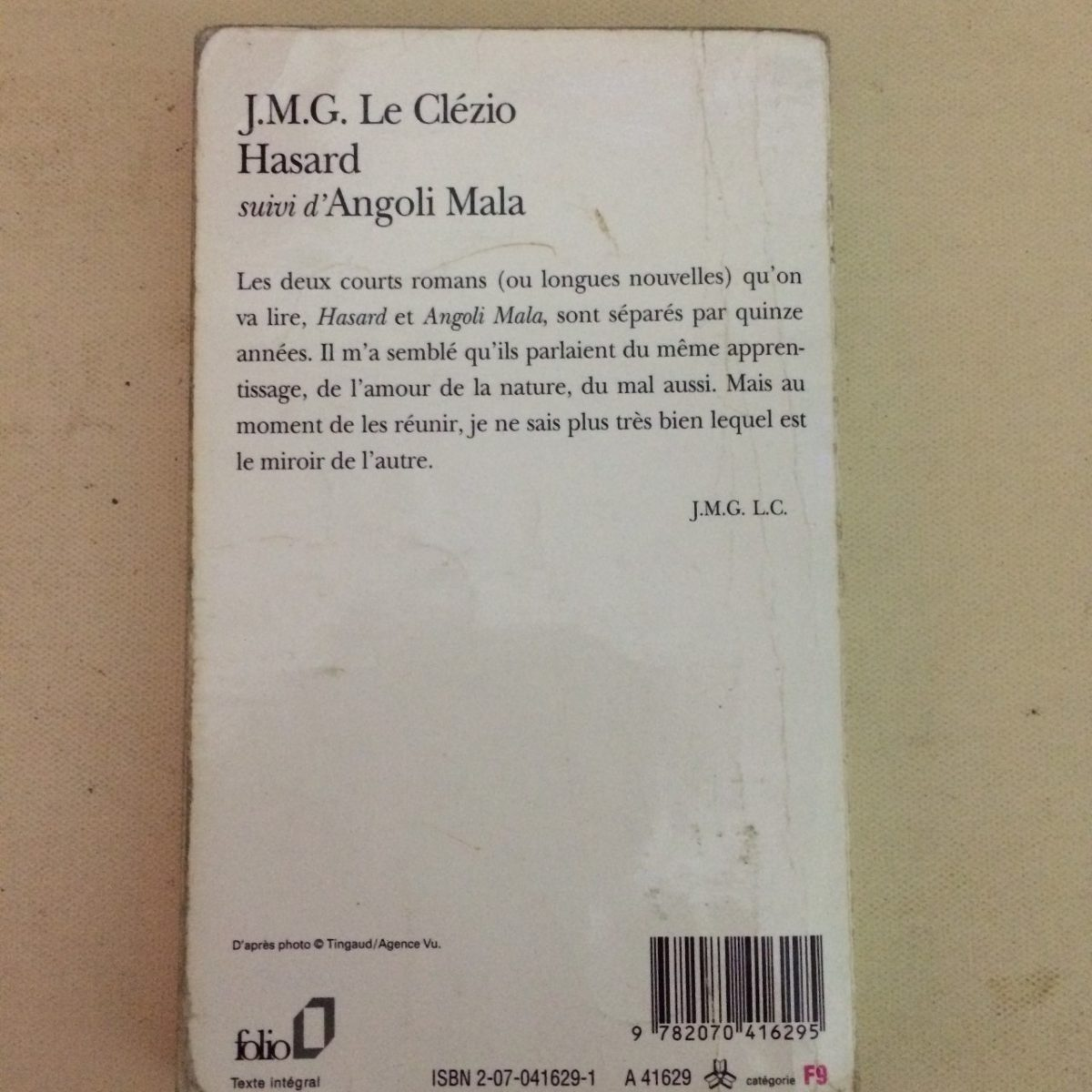 Le Clézio Hasard Suivi Dangoli Mala Folio En Francés 9000