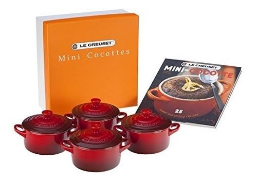 le creuset set de 4 mini cocottes con cookbook , cereza ( ro