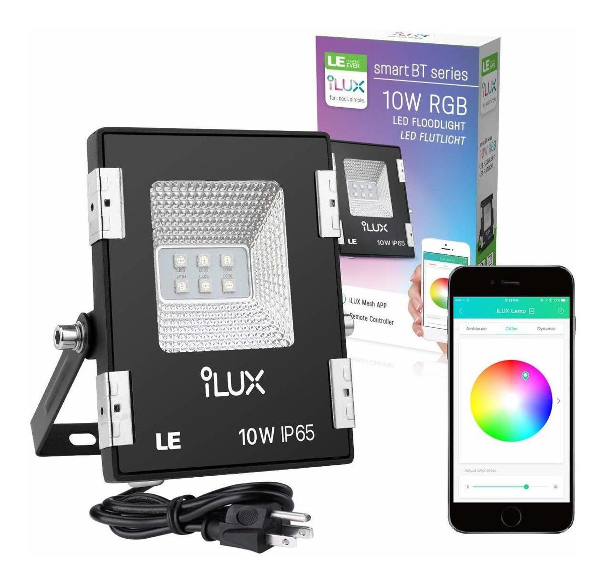 Image of: Le Ilux Smart Led Flood Light Outdoor Plug In 10w Rgb Dim 163 900 En Mercado Libre