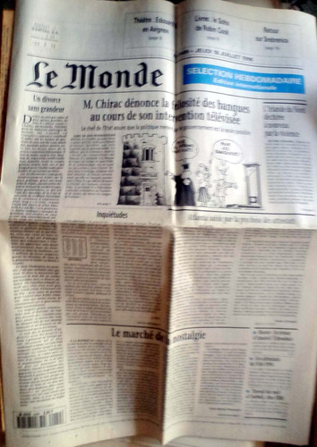 le monde hebdomadaire n°2489 18 jul 1996 10p buen estado