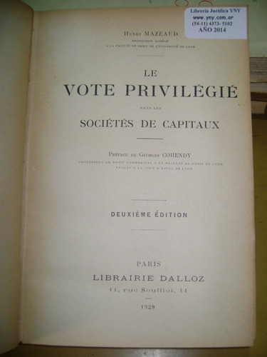 le vote privilegie societes de capitaux- mazeaud h-1929