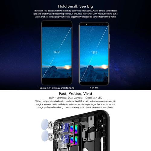 leagoo m9 quad-cam 18: 9 pantalla completa del teléfono