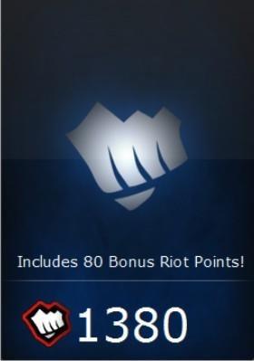 league of legends - lol - cartão 1380 riot points -imediato!