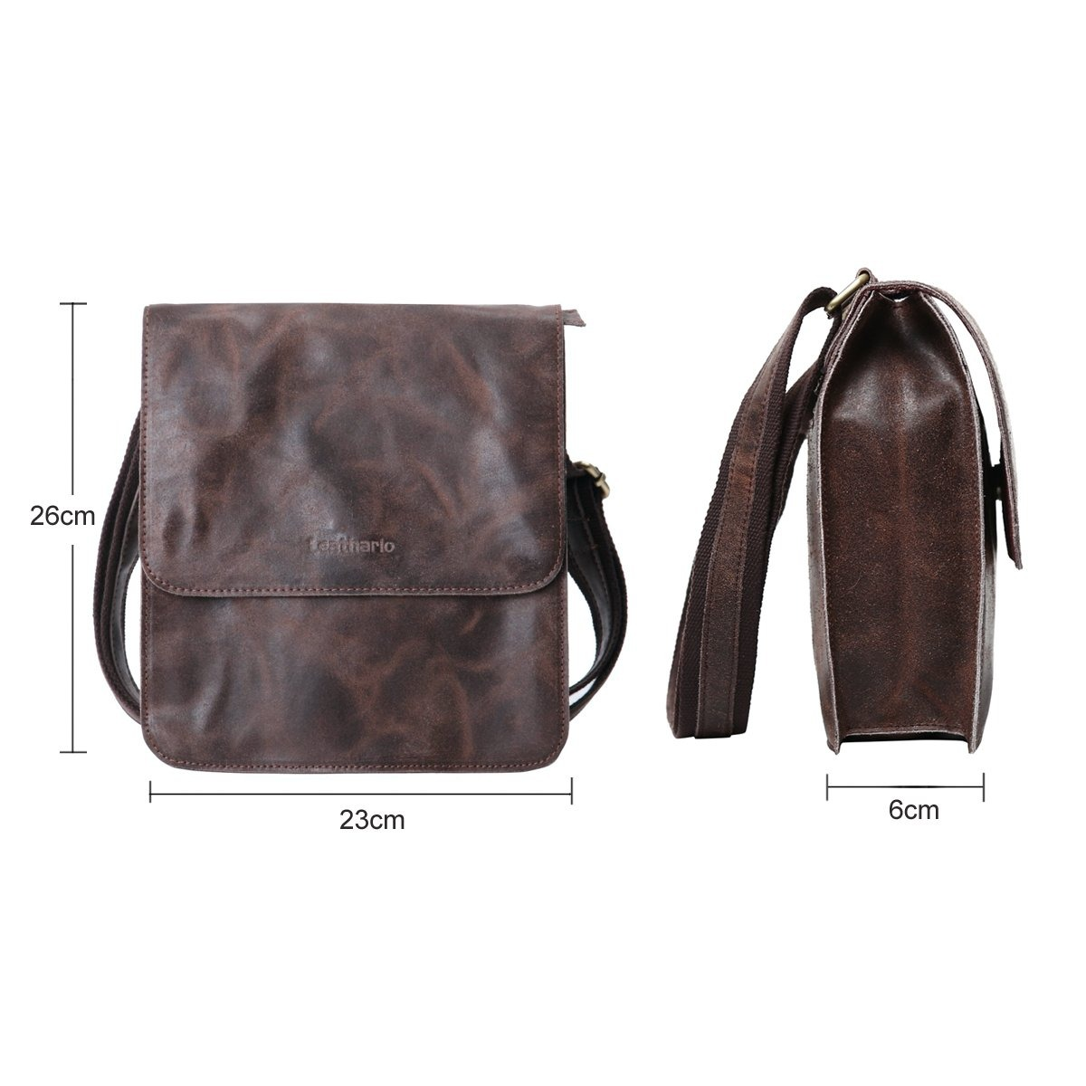 bfc3e8b7a9a leathario leather shoulder bag men s retro leather mess... Cargando zoom.