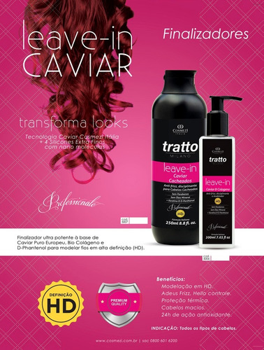 leave in - caviar & colágeno - cacheados 250ml | cosmezi