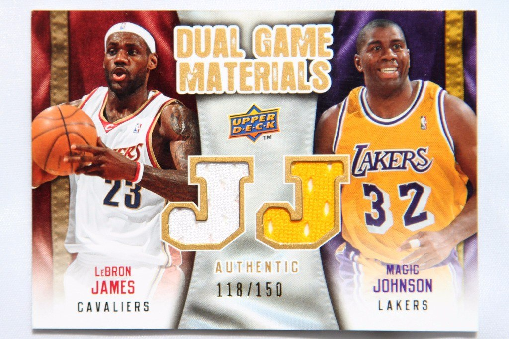 official photos 5f79a f7249 Lebron James Y Magic Johnson Dual Game Worn Jersey Patch