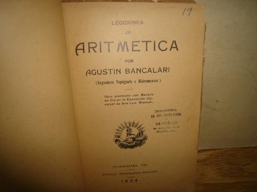 lecciones de aritmética - agustín bancalari - 1934