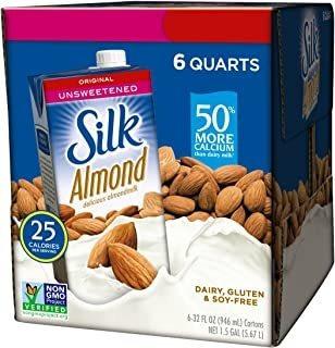 leche de almendra de seda sin endulzar original 32 oz (paque