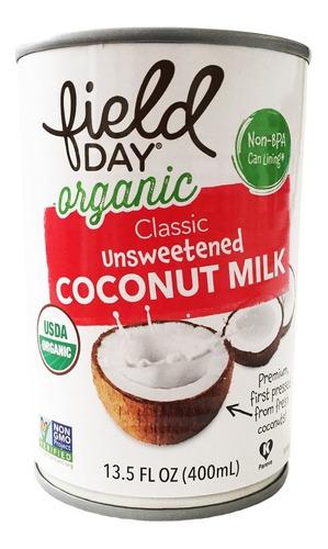 leche de coco orgánica importada natural field day 400ml