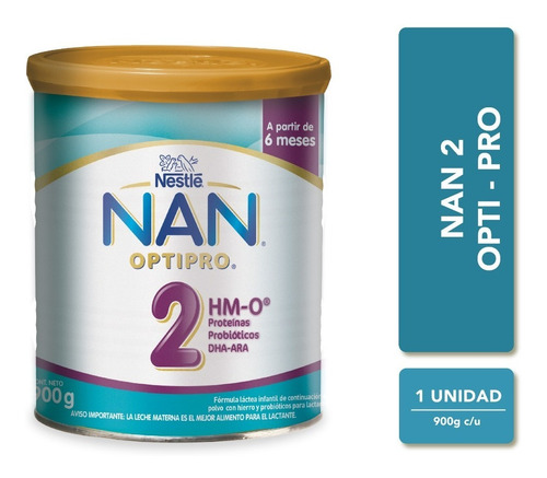 leche nan 2 optipro con hm-o® 900g tarro