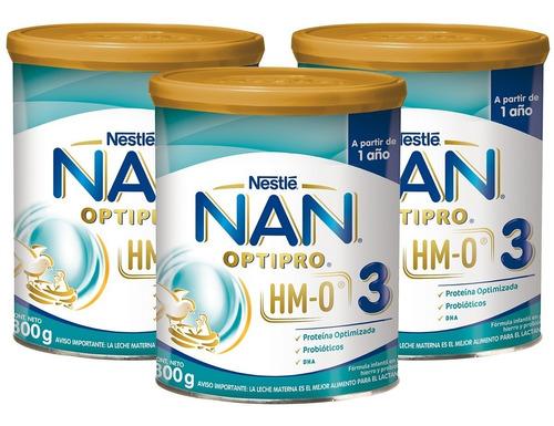 leche nan 3 opti-pro® hm-o 800g pack x3 tarros