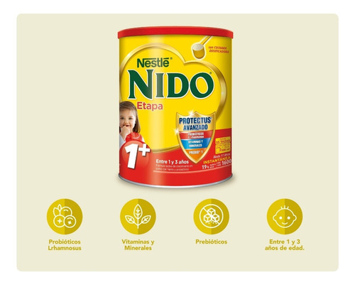 leche nido 1 + protectus® 1600g tarro