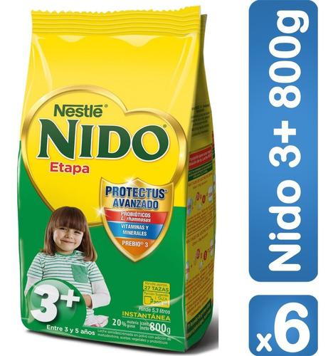 leche nido® 3+ protectus® 800g pack x6 bolsas