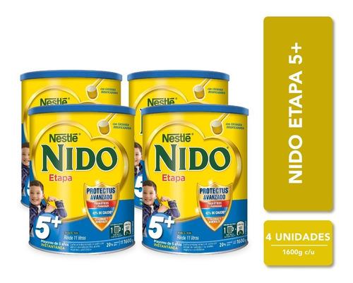leche nido 5 + protectus® tarro 1600g pack x4 tarros