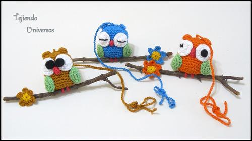 lechuzas tejidas al crochet para colgar 100% artesanal