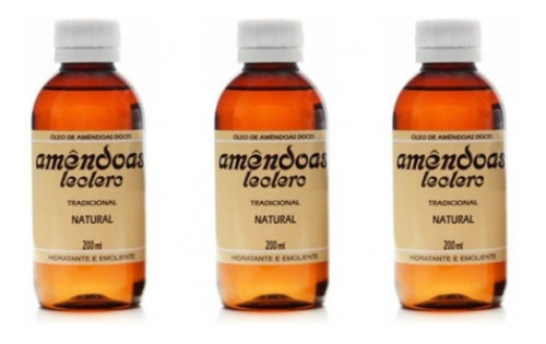 leclerc óleo de amêndoas natural 200ml (kit c/03)