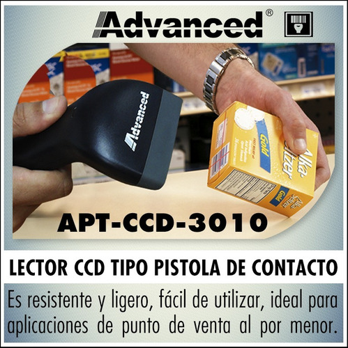 lector código de barras advanced ccd 100 usb negro