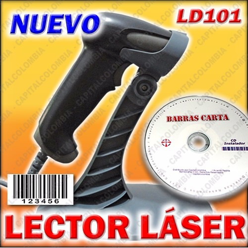 lector codigo de barras láser + base + software barrascarta