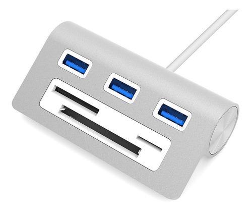 lector de memoria + hub usb 3.0 3 port - microsd / sd / cf