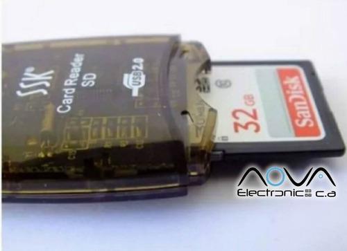 lector de memoria sdhc sd micro sd con led tipo pendrive