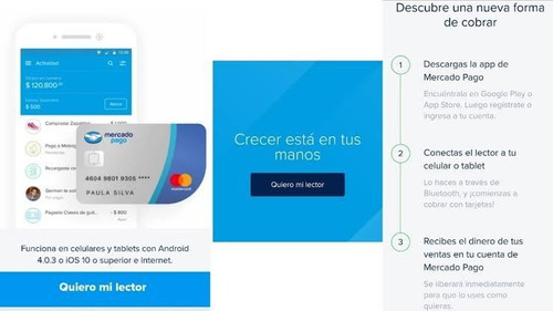 lector de tarjetas mercado pago point blue conexión bluetoot