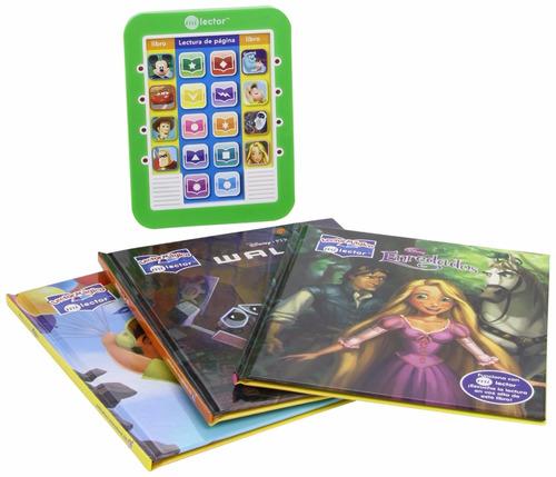 lector magico y biblioteca de 8 libros - disney y pixar
