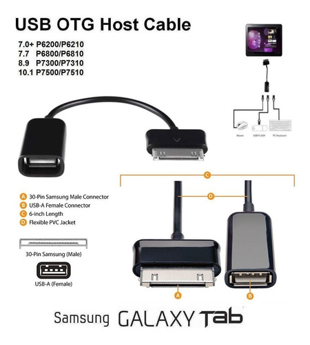 lector otg usb a 30 pines adaptador cable tablet samsung