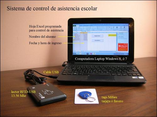 lector rfid usb 13.56 mhz iso 14443a control asistencia