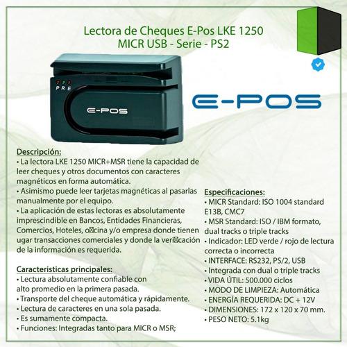 lectora de cheques e-pos lke 1250 micr usb - serie - ps2