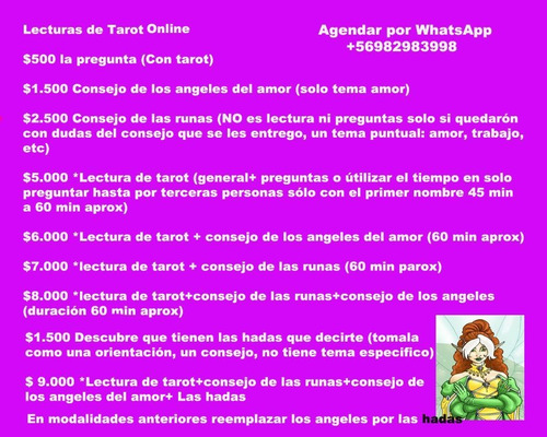 lecturas tarot  $3000 media hora por whatsaap escrito audio