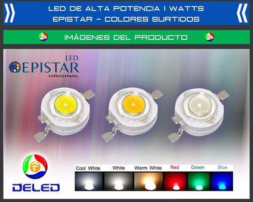 led alta potencia 1watt epistar blanco y colores surtidos