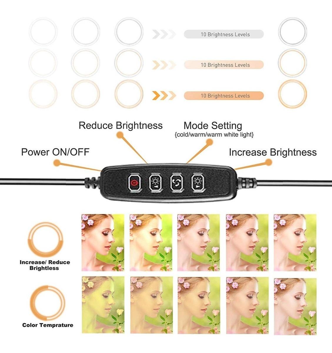 luz de Selfie para Maquillaje de Escritorio con 3 Modos de luz y 10 Niveles de Brillo para fotograf/ía de Youtube Anillo de luz LED de 10con Soporte para tr/ípode y Soporte para tel/éfono Flexible
