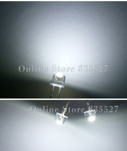 led blanco emisor ultrabrillante 5mm. sombrero de paja.7 pz