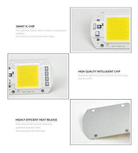led chip cob 50w alta potencia direct/220v blanco frio 6500k