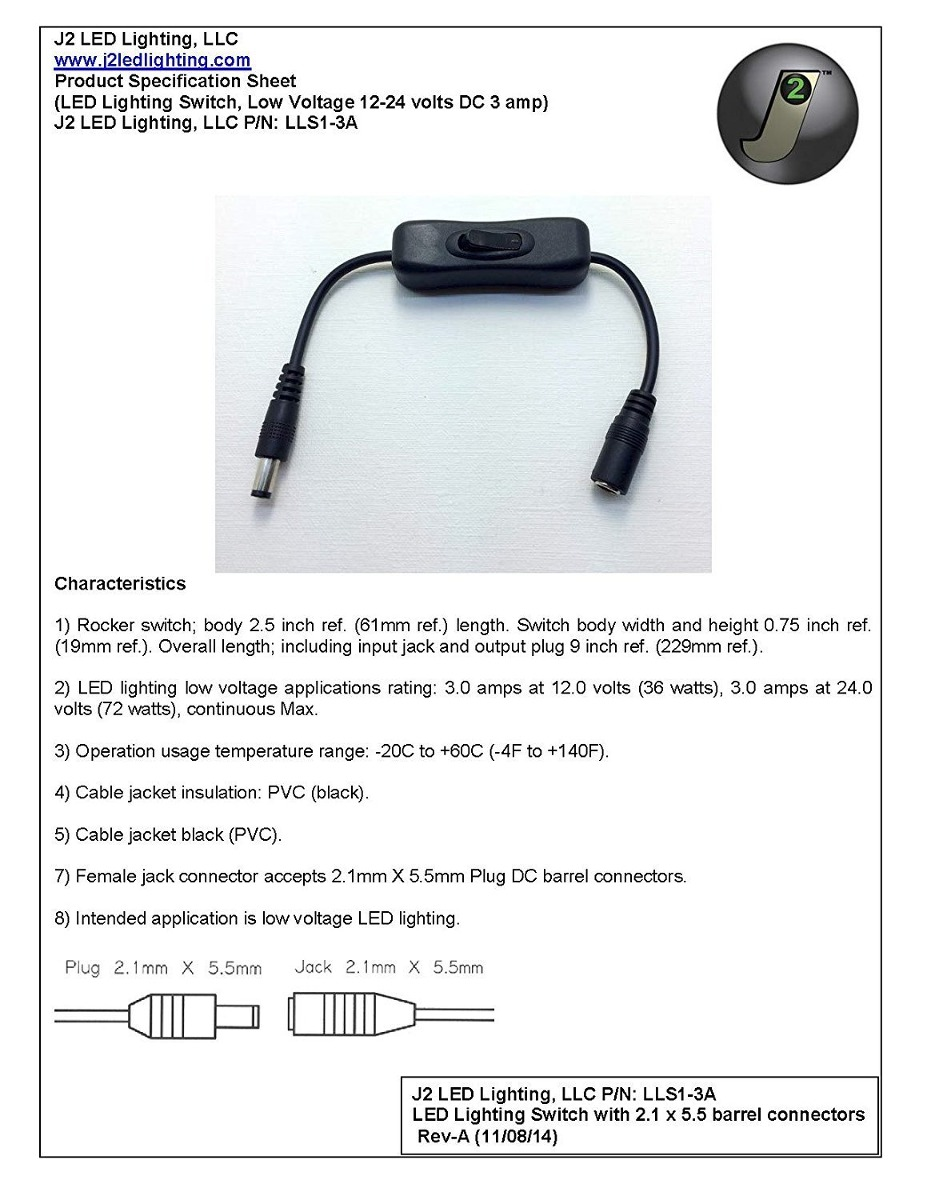 Rocker Switch LED lighting 2.1 x 5.5 barrel connector cable 12 Volt DC 3A  LLS1