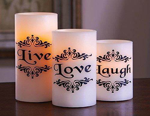 led live love laugh velas - juego de 3