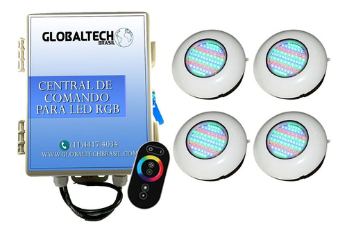led piscina rgb - kit 4 easy led 70 6,5w+ central + controle